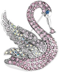 Jones New York Silver Tone Pink Crystal And Stone Swan Pin