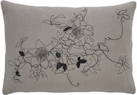 K Studio Clematis Pillow Hemp Black Stitch Gray