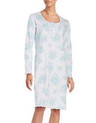 Miss Elaine Ruffled Floral Nightgown Blue
