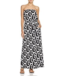 Macbeth Collection Strapless Printed Maxi Dress Swim Cover Up Black White