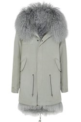 Mr And Mrs Italy Shearling Lined Cotton Canvas Parka Gray
