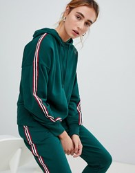 Pull And Bear Pullandbear Stripe Detail Hoodie Green