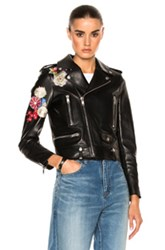Saint Laurent Embellished Embroidered Leather Motorcycle Jacket In Black