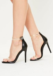 Missguided Black Clear Rounded Strap Barely There Heels