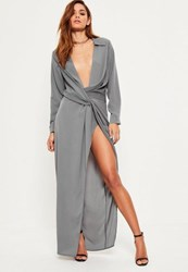 Missguided Grey Wrap Front Shirt Maxi Dress