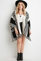 Forever 21 Mixed Stripe Fringed Poncho Cream Black