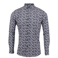 Lords Of Harlech Nigel Floral Print Shirt In Black And White White Black Neutrals