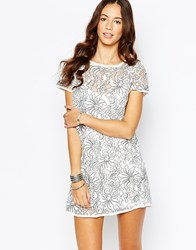 Goldie Outsider Embroidered Shift Dress With Slip Cream