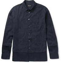 Giorgio Armani Slim Fit Layered Cotton Jacquard And Linen Shirt Navy
