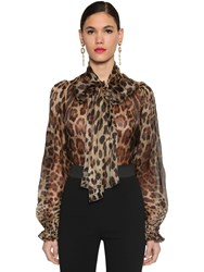 Dolce And Gabbana Printed Bow Tie Sheer Organza Blouse Leopard