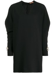 Coliac Pearl Detail Batwing Sleeve Dress Black