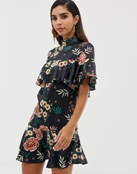 Liquorish Satin Floral Mini Dress With High Neck And Ruffle Detail Multi