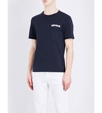 Sandro Reveur Cotton T Shirt Navy Blue