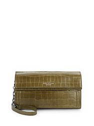 Halston Crocodile Embossed Leather Convertible Clutch Olive