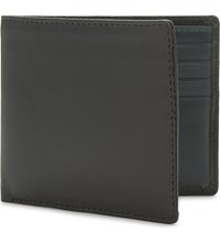 Launer Calf Leather Billfold Wallet Black Green