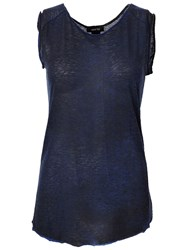 Avant Toi Back Trim Detail Semi Sheer Tank Blue