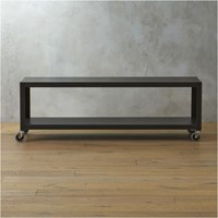 Cb2 Go Cart Carbon Rolling Tv Stand Coffee Table