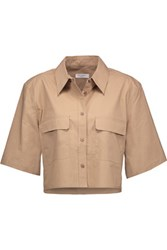Equipment Signature Cropped Cotton Shirt Tan