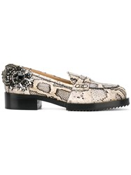 N 21 No21 Snakeskin Effect Embellished Loafers Women Calf Leather Leather Rubber 37 Nude Neutrals
