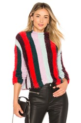 Blank Nyc Striped Mock Neck Sweater Red