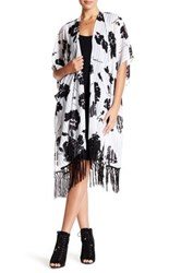 David And Young Tasseled Burnout Stripe Tunic Wrap White