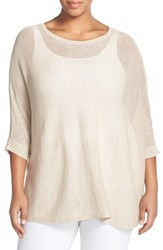 Eileen Fisher Plus Size Women's Organic Linen Mesh Knit Bateau Neck Top