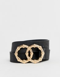 Stradivarius Bamboo Detail Belt In Black
