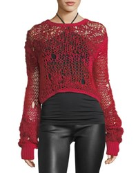 Helmut Lang Grunge Cropped Open Knit Wool Sweater Red
