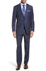 Peter Millar Big And Tall Classic Fit Windowpane Wool Suit Blue