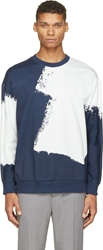 3.1 Phillip Lim Navy And Ivory Brush Stroke Sweatshirt