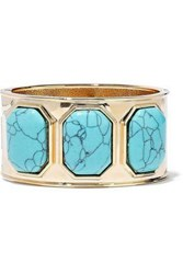 Kenneth Jay Lane Woman Gold Tone Stone Cuff Turquoise