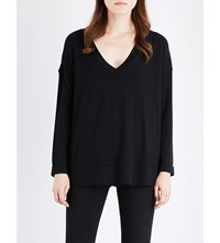 French Connection Arrow Lace Jersey And Chiffon Top Black