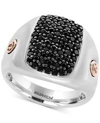 Effy Men's Black Sapphire Cluster Ring 1 3 8 Ct. T.W. In Sterling Silver And 18K Rose Gold