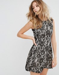 Ax Paris Contrast Lace Skater Dress Gold