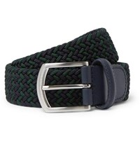 Andersons Anderson's 3.5Cm Navy Leather Trimmed Woven Elastic Belt Navy