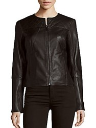 Dawn Levy Cropped Leather Jacket Black