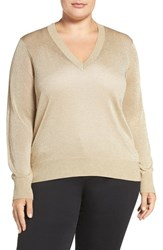 Michael Michael Kors Plus Size Women's Elliptical Hem Metallic V Neck Sweater