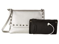Mighty Purse Vegan Leather Charging Flap X Body Bag Silver Snake W Gunmetal Studs Handbags