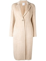 Agnona Single Button Mid Coat Nude Neutrals