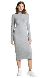 Barrie V Stripe Cashmere Turtleneck Dress Grey Flannel