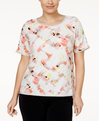 Calvin Klein Plus Size Faux Leather Trim Printed T Shirt Pink Geo Print