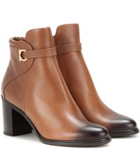 Salvatore Ferragamo Florian Leather Ankle Boots Brown