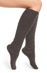 Natori Women's 'Schiffli' Variegated Knit Knee High Socks Dark Gray Heather