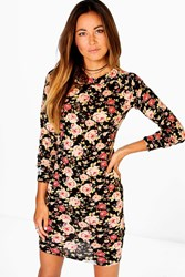 Boohoo Floral Brushed Knit Bodycon Dress Black