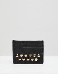 Urbancode Leather Card Holder With Studs Black