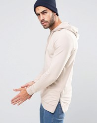 Asos Muscle Hoodie With Side Zips Vintage Lace Pink