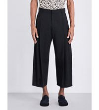 Mcq By Alexander Mcqueen Straight Cropped Wool Trousers Darkest Black