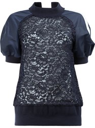 Sacai Puff Sleeved Lace Sweatshirt Women Cotton Nylon Rayon 2 Black