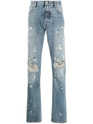 Unravel Project Distressed Mid Rise Straight Leg Jeans 60