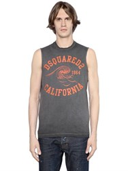 Dsquared Washed Cotton Jersey Sleeveless T Shirt